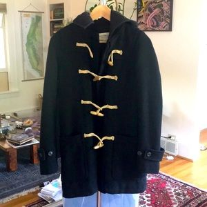 Ralph Lauren Black Hooded Hood Wool Coat Toggle XS